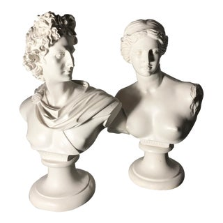 Greek Busts of Apollon & Aphrodite For Sale