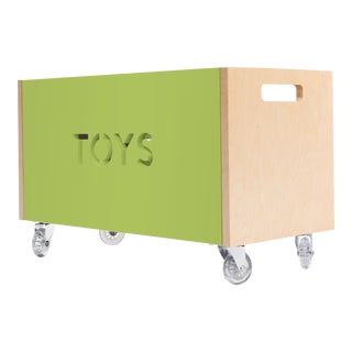 Toy Box Chest on Casters in Birch With Green Finish For Sale