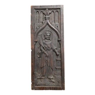 Late 15th Century Gothic Tracery Panel Depicting St. Agnes For Sale