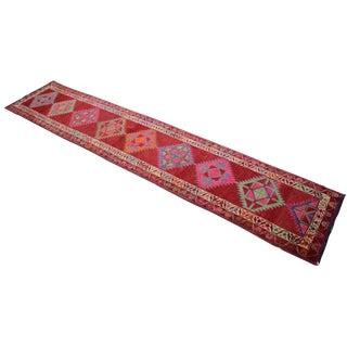 Hand-Knotted Kurdish Runner Rug. Tribal Herki Extra Long Runner -2′10″ × 14′4″ For Sale