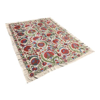"""Handmade Suzani Clove Floral Tapestry King Size Bedspread/Table Cloth - 8'3"""" x 6'2"""""""