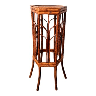 Vintage Chinese Tortoise Shell/Burnt Bamboo Hexagonal Plant Stand For Sale