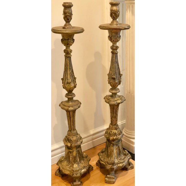 Late 18th Century Pair of Antique 18th C Italian Giltwood Altar Candlesticks For Sale - Image 5 of 5