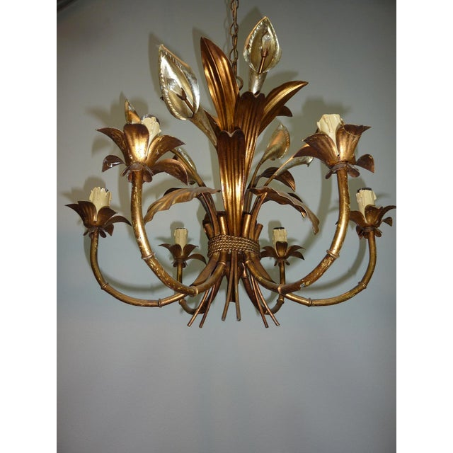Italian Calla Lily 6-Light Gilded Chandelier - Image 6 of 7