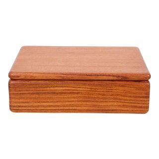 Rectangular Teak Jewelry Box For Sale