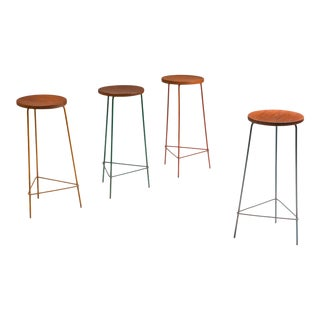 Jeanneret Teak and Iron Stool, Set of Four - 1960's For Sale