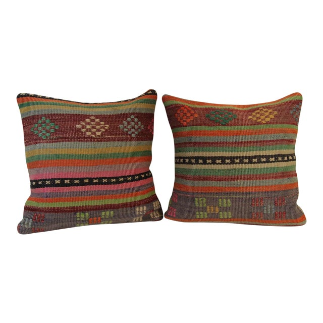 Turkish Kilim Pillow Covers - A Pair - Image 1 of 6