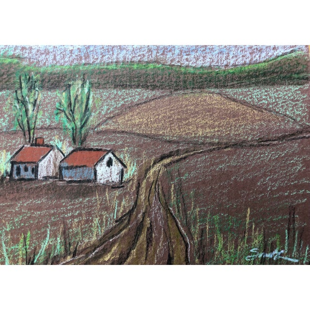 """Cottage Nancy Smith """"Countryside"""" Colored Pencil Drawing For Sale - Image 3 of 5"""