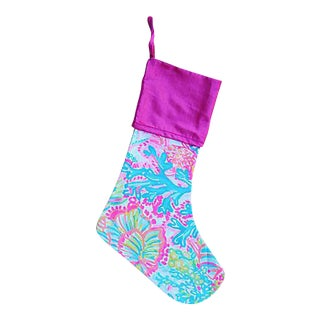 Lilly Pulitzer Style Chic Tropical Beach Coral Christmas Stocking For Sale