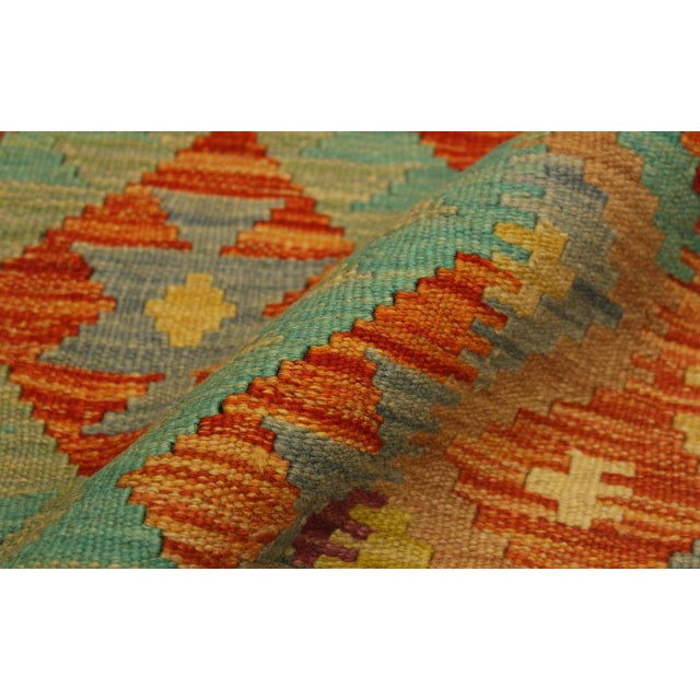 2000s Era Red/Green Hand-Woven Kilim Wool Rug -4'3 X 5'10 For Sale - Image 5 of 8