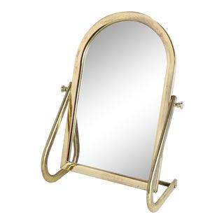 1960s Vintage Mid Century Modern Gold Metal Adjustable Table Desk Vanity Mirror For Sale