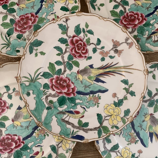 Exceptional Antique Chinese Porcelain Bird Plates- Set of 5 For Sale In New York - Image 6 of 7