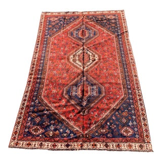 1950s Vintage Persian Shiraz Area Rug - 6′5″ × 8′11″ For Sale