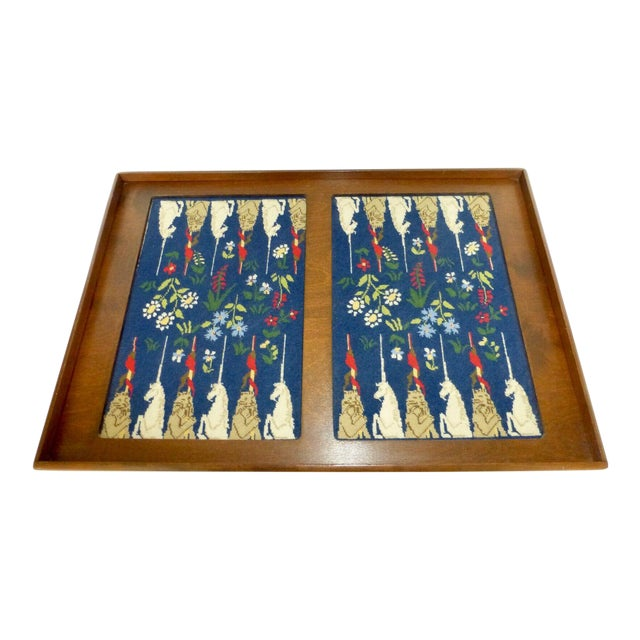 Mid-Century Framed Needlepoint Embroidered Backgammon Board Game Lions Unicorns Floral For Sale