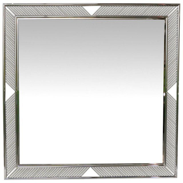 2010s Contemporary Minimalist Italian Gold Brass Mirror With Modern Baguette Fretwork For Sale - Image 5 of 6