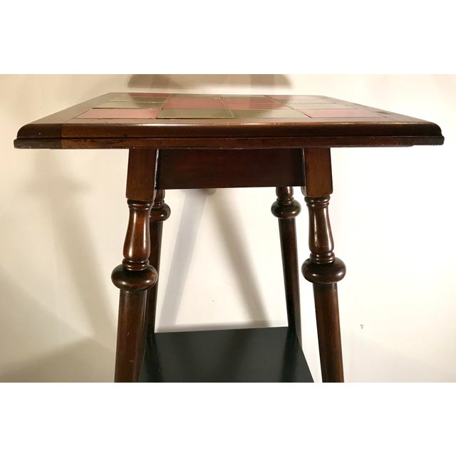 English Traditional Antique Tile Top Pub Table For Sale - Image 3 of 11