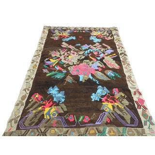 """Vintage Turkish Kilim Floral Design Rug-5'2'x8'2"""" For Sale"""