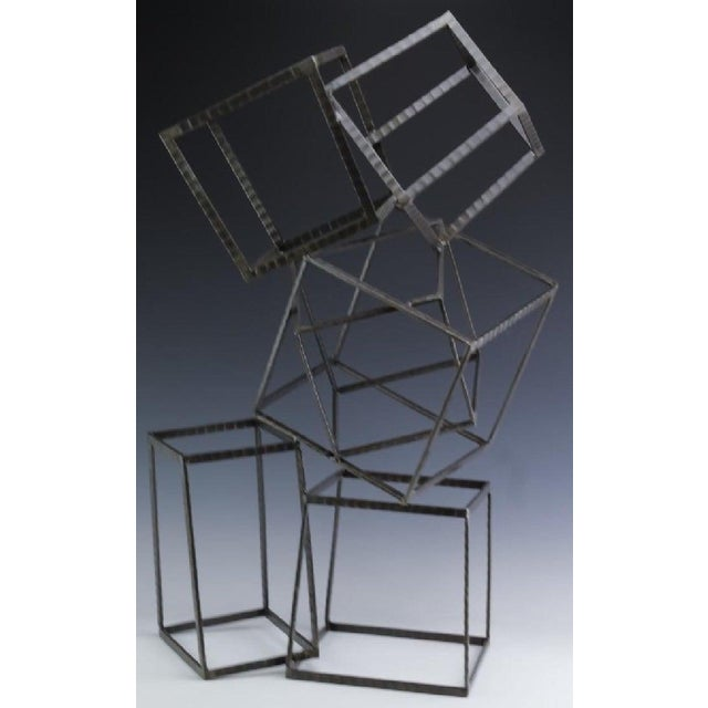 Modern Modern Forged Iron & Travertine Quadrilaterals Sculpture For Sale - Image 3 of 11