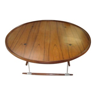 1960s Mid-Century Modern Jens Quistgaard Rosewood and Polished Metal Coffee Table For Sale
