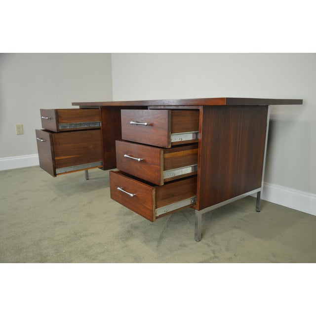 Brown Mid-Century Modern Walnut & Chrome Base Executive Desk For Sale - Image 8 of 13