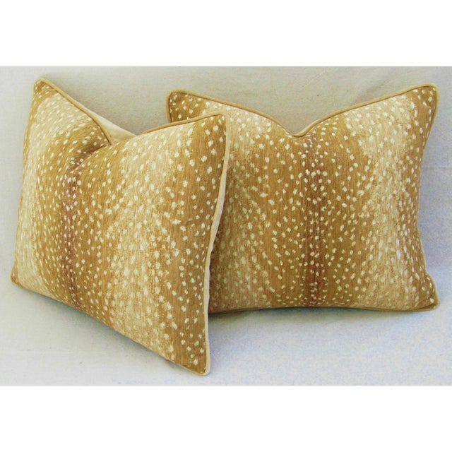 """Tan Custom Tailored Antelope Fawn Spot Velvet Feather Down Pillows 21"""" X 18"""" - Pair For Sale - Image 8 of 12"""
