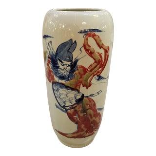 1980s Chinese Samurai Warrior Porcelain Umbrella Stand For Sale