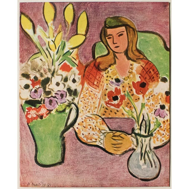"""1946 H. Matisse """"Girl With Anemones on Purple Background"""", Original Parisian Lithograph For Sale In Dallas - Image 6 of 8"""