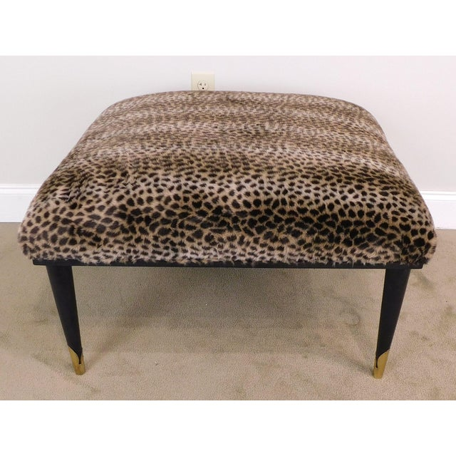 Mid Century Modern Square Cheetah Print Ottoman For Sale - Image 4 of 13