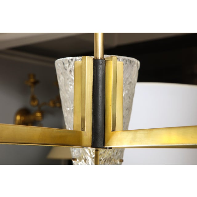 Gold Sculptural Brass and Glass Six-Arm Hanging Light Fixture For Sale - Image 8 of 9