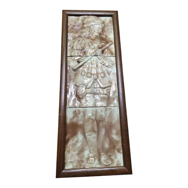 Majolica Figural Musician Beige & White Tile For Sale