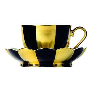 """Melon"" Mocha Cup with Saucer by Josef Hoffmann Black & Gold For Sale"