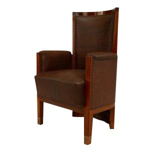 3 American Mission style (19/20th Cent) stained oak barrel back arm chairs with solid wood back and copper trim with leather upholstered seat and back