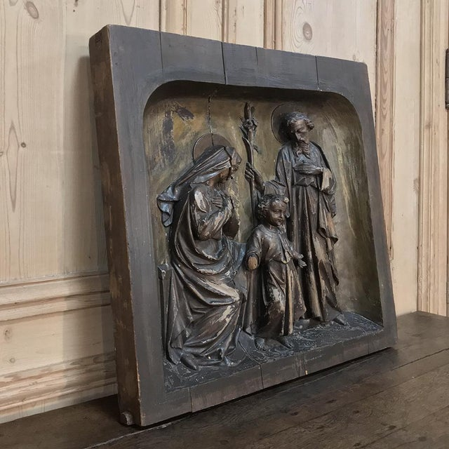 19th Century Carved Panel of the Holy Family For Sale - Image 4 of 11