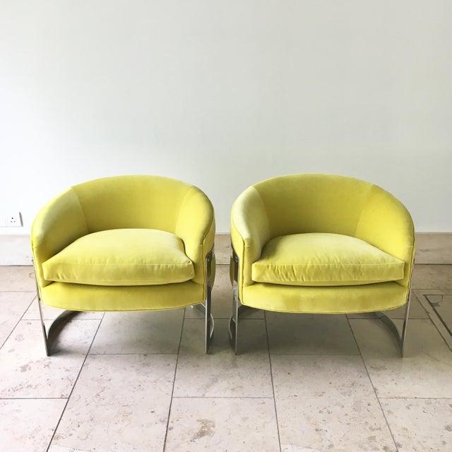Pair of Milo Baughman Chromium Steel Framed Vibrant Yellow Velvet Upholstered Tub Chairs 1970s Reupholstered by Talisman...