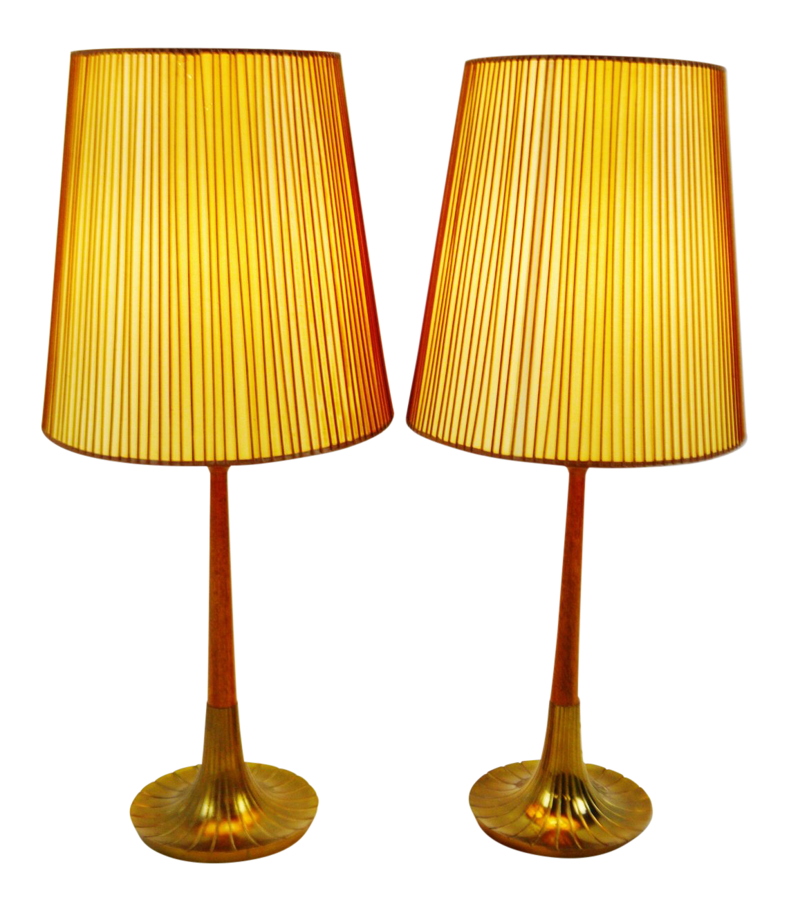 Mid Century Modern Danish Style Brass Wood Table Lamps A Pair