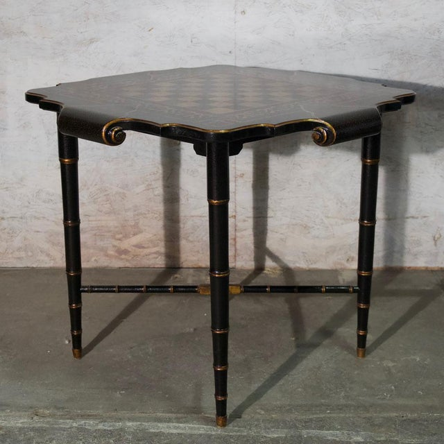 Black & Gold Gilt Game Table. Hand Painted Gold Gilt Game Table (two available) Price: 2200.00 (priced individually)...