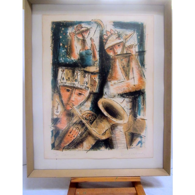 An abstract, Modernist musicians piece by Emil Weddige from 1957. The piece is signed, numbered (20/50), and currently...