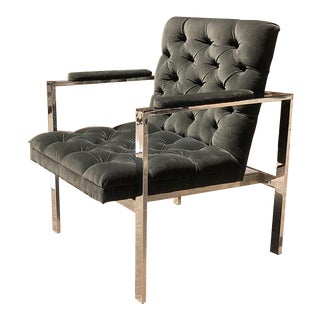 Mid Century Tufted Gray Armchair With Chrome in the Style of Milo Baughman For Sale