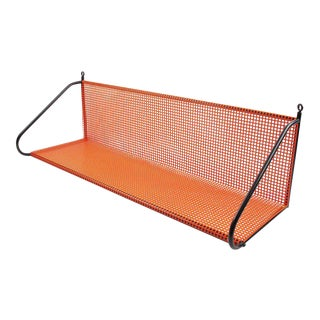 Mathieu Mategot Style Orange Perforated Metal Wall Bookshelf For Sale