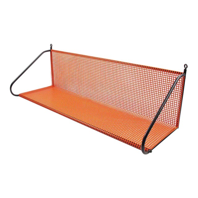 Mathieu Mategot Style Orange Perforated Metal Wall Bookshelf - Image 1 of 8