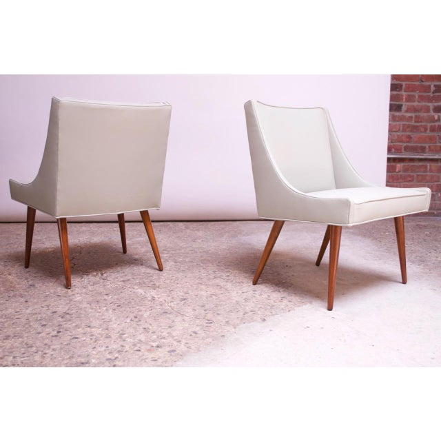 Vintage Walnut and Leather Slipper Chairs by Milo Baughman - a Pair For Sale - Image 13 of 13
