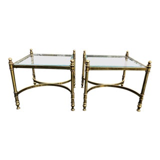 Hollywood Regency Brass & Glass End Tables - A Pair