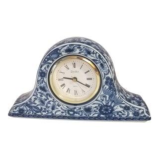 1990s Vintage Ryuho Japanese Blue and White Porcelain Mantle Clock For Sale