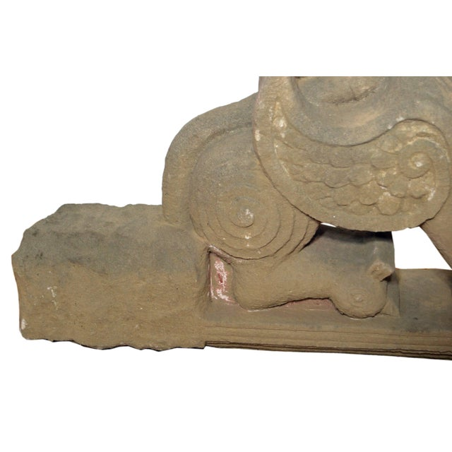 19th Century Hand-Carved Stone Sphinx With Tiara and Earrings Sculpture For Sale In New York - Image 6 of 13