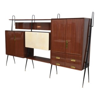 Italian Modern Mahogany and Brass Bar Cabinet or Bookcase, Silvio Cavatorta For Sale