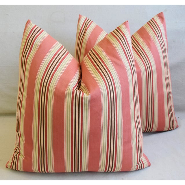 "French Multi Coral Striped Ticking Feather/Down Pillows 23"" Square - Pair For Sale - Image 10 of 11"