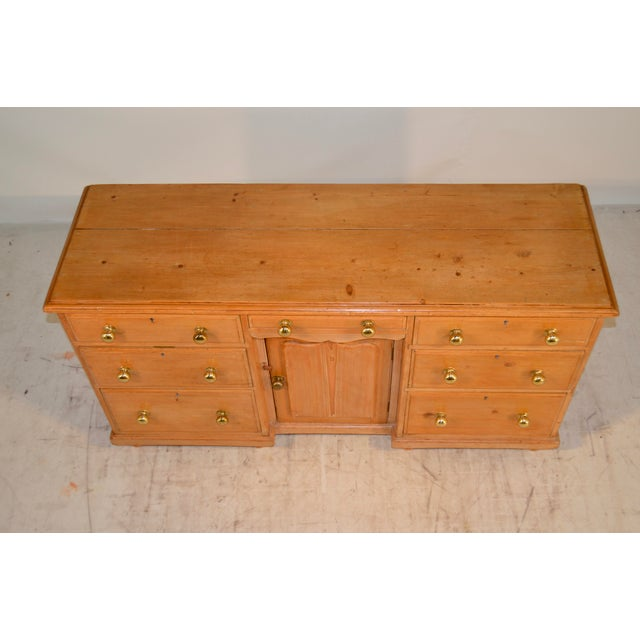 Brass 19th Century English Pine Dresser Base For Sale - Image 7 of 8