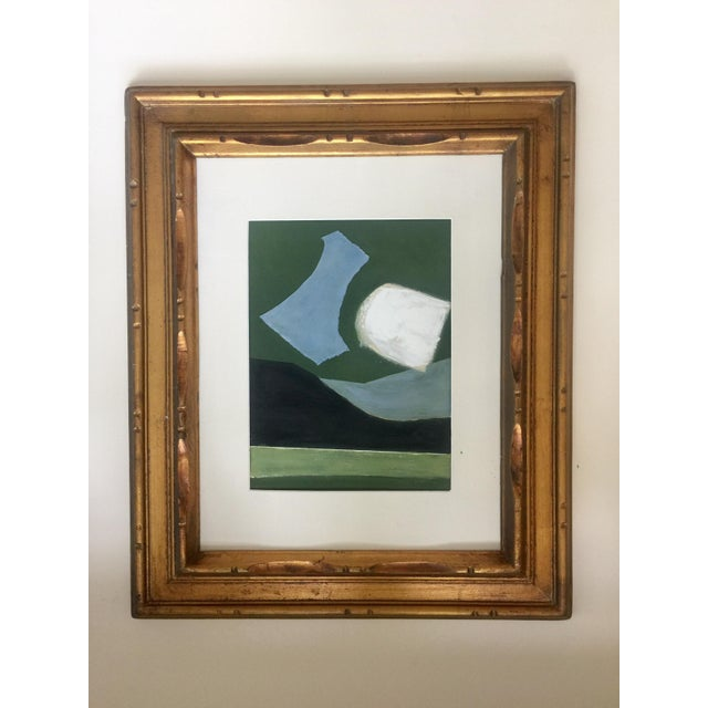 Abstract Painting Collage in Blues and Greens For Sale - Image 4 of 4