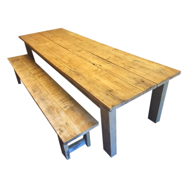 Rustic White Oak Dining Table and Bench - Image 1 of 6