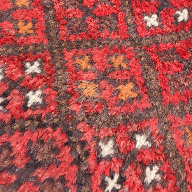 """Patterned Afghan Wool Rug - 3'6"""" X 5'8"""" For Sale - Image 10 of 13"""